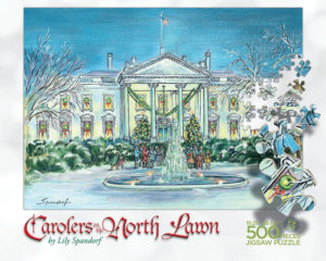 Carolers on the North Lawn (White House) Puzzle Box Top